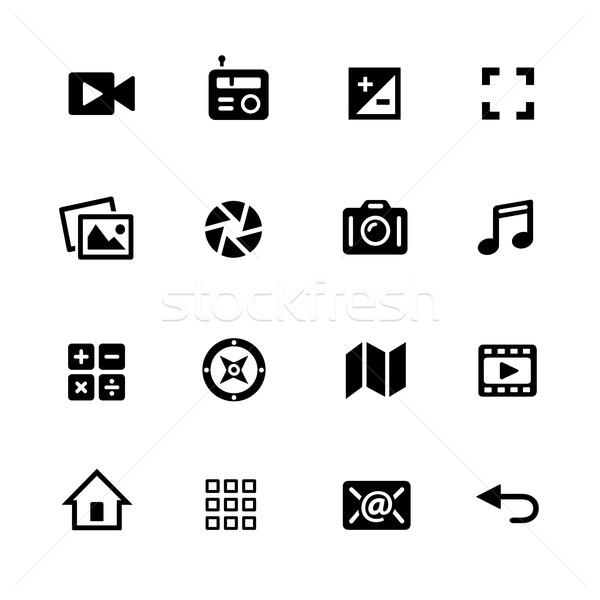 Média ikonok fekete vektoros ikonok digitális nyomtatott Stock fotó © Palsur