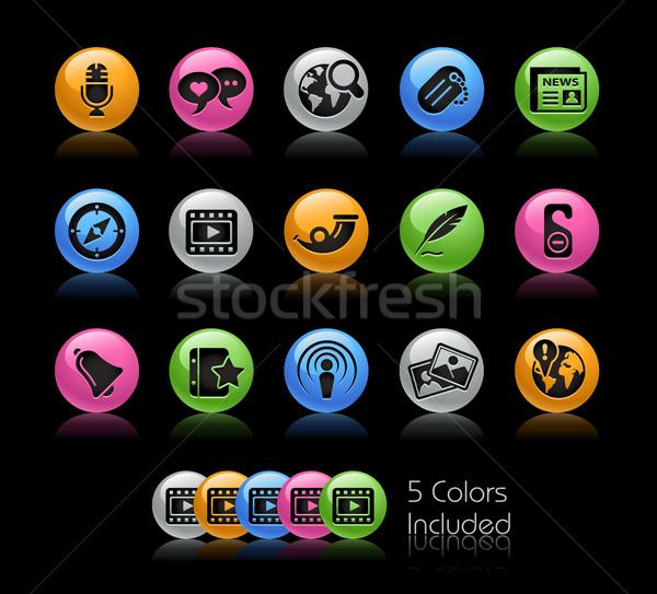 Foto stock: Medios · de · comunicación · social · gel · color · eps · archivo · icono