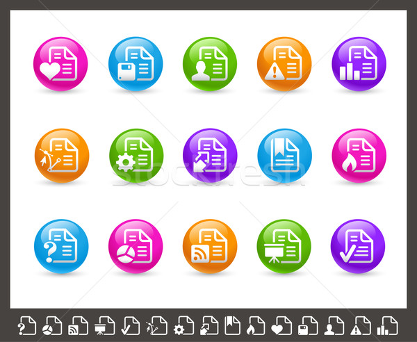 Documents Icons - 2 of 2 // Rainbow Series Stock photo © Palsur