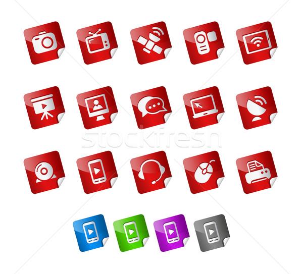 Communications icônes autocollants vecteur fichier couleur Photo stock © Palsur