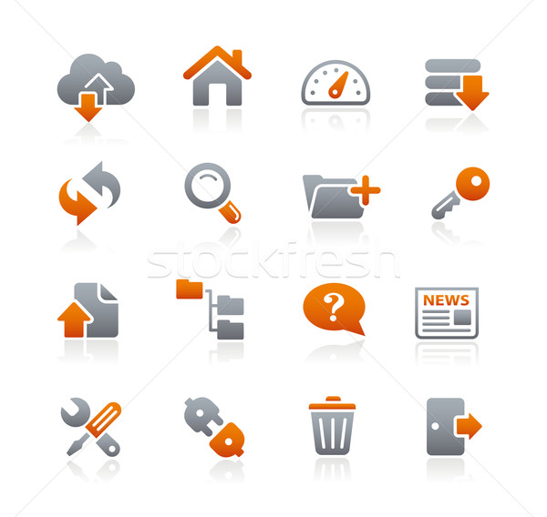 Ftp hosting iconen grafiet vector web Stockfoto © Palsur