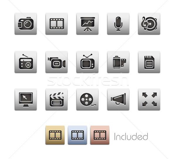 Foto stock: Multimídia · metálico · eps · arquivo · cor · ícone