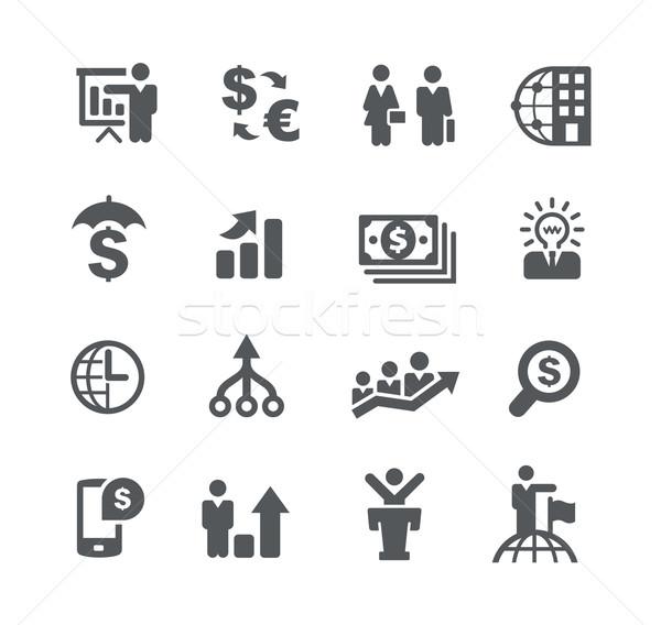 Stock fotó: Pénzügyi · tervezés · üzlet · stratégiák · vektor · ikonok · háló