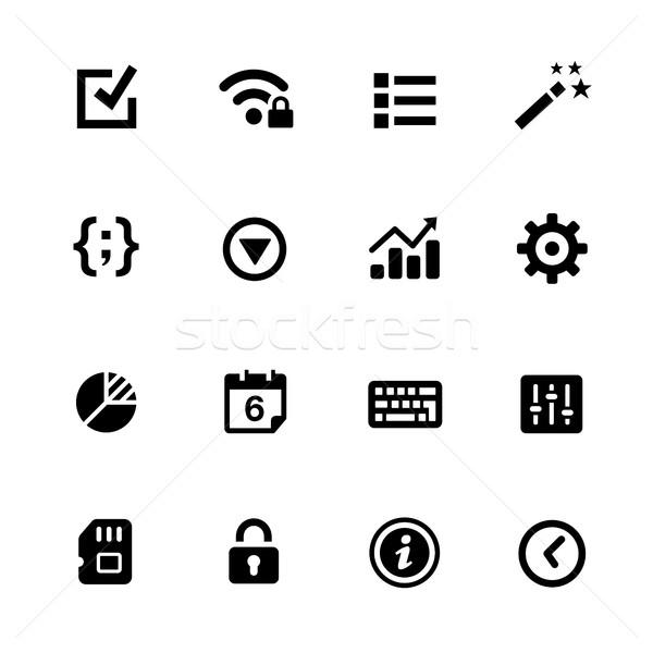 Сток-фото: иконки · черный · векторных · иконок · цифровой · печать
