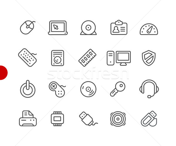 Számítógép eszközök ikonok piros pont vektor Stock fotó © Palsur