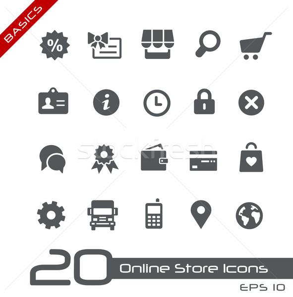 Online bolt ikonok alapok vektor háló mobil Stock fotó © Palsur