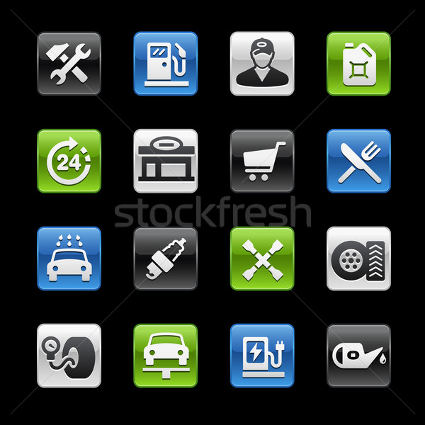 Stockfoto: Tankstation · glanzend · knoppen · vector · iconen · digitale
