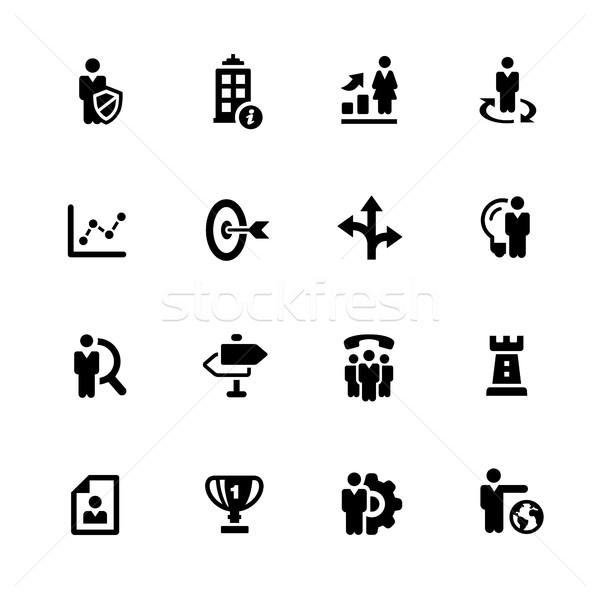 Zdjęcia stock: Firmy · strategii · ikona · czarny · wektorowe · ikony · cyfrowe