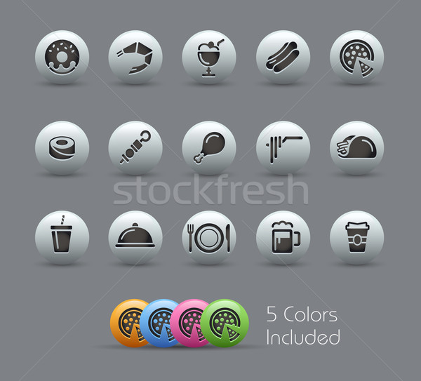 Food Icons - Set 2 of 2 // Pearly Serie Stock photo © Palsur
