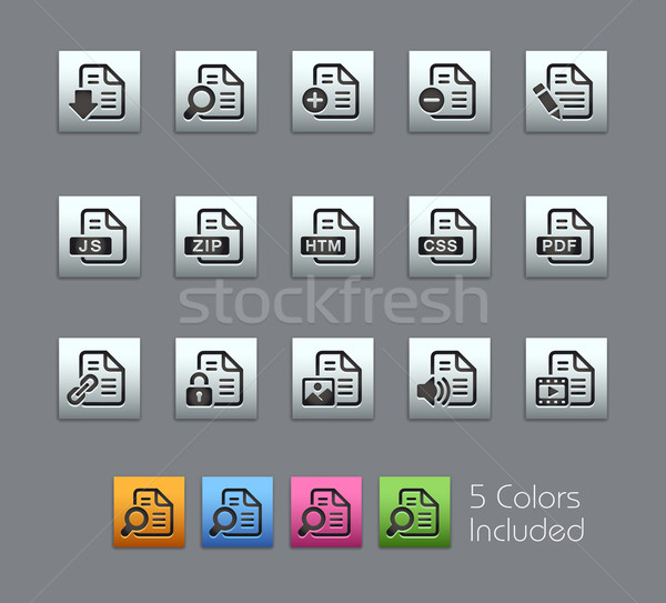 Documents Icons - 1 of 2 -- Satinbox Series Stock photo © Palsur