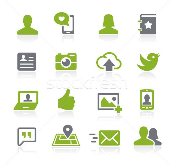 Foto stock: Social · ícones · vetor · teia · móvel · impressão