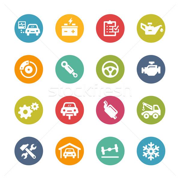 Auto dienst iconen vers kleuren knoppen Stockfoto © Palsur