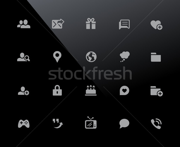Sosyal iletişim simgeler vektör çalışmak piksel Stok fotoğraf © Palsur