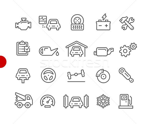 Zdjęcia stock: Samochodu · usługi · ikona · czerwony · punkt · wektora