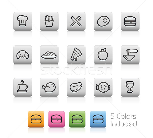 Food and Drinks Icons 1 -- Outline Button Stock photo © Palsur