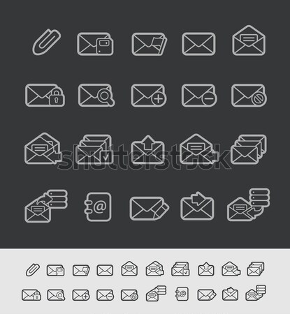 E-mail Icons -- Outline Button Stock photo © Palsur