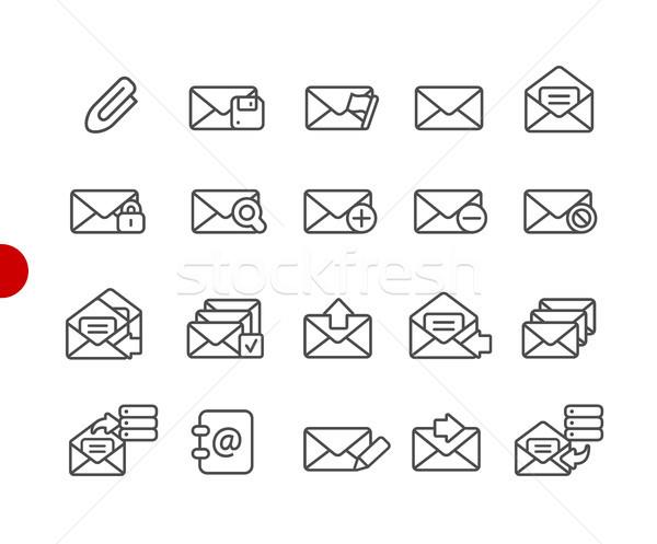 E-mail simgeler kırmızı nokta vektör hat Stok fotoğraf © Palsur