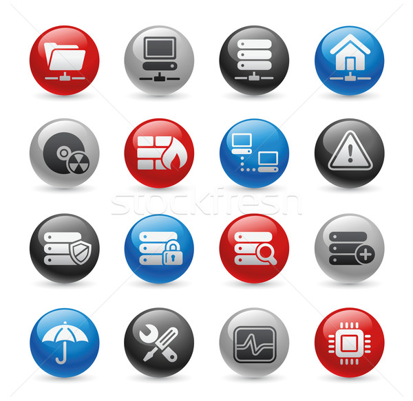 Foto stock: Rede · servidor · hospedagem · ícones · gel · profissional