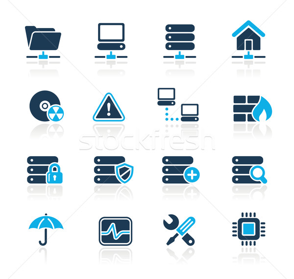 Netwerk server hosting azuur professionele iconen Stockfoto © Palsur