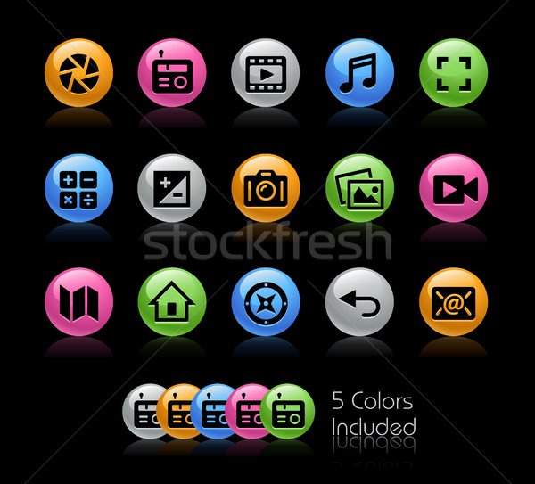 Média interfész ikonok vektor akta szín Stock fotó © Palsur