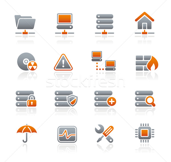 Netwerk server hosting iconen grafiet professionele Stockfoto © Palsur