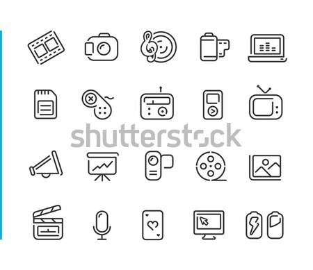 Multimedia Icons -- Outline Button Stock photo © Palsur