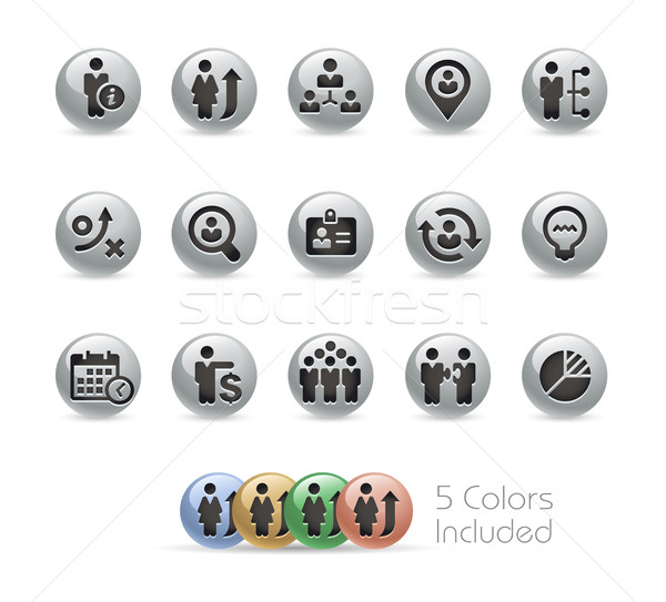 Business Efficiency Icons -- Metal Round Series Stock photo © Palsur