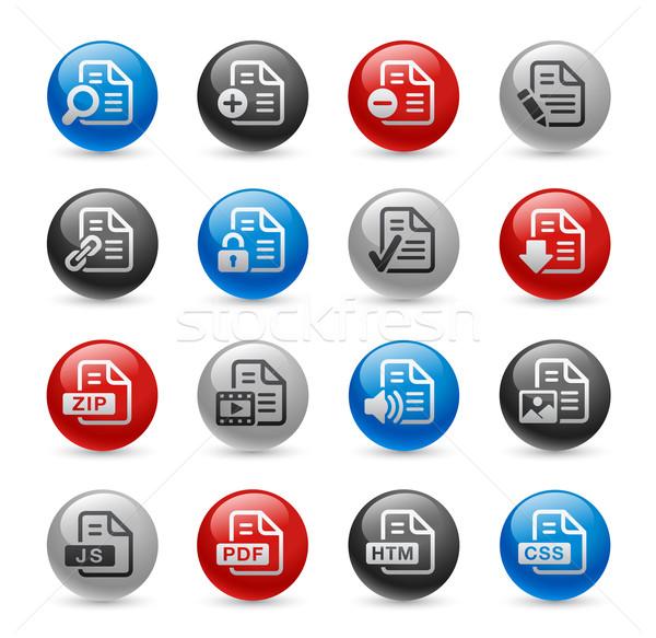Documents Icons - Set 1 -- Gel Pro Series Stock photo © Palsur