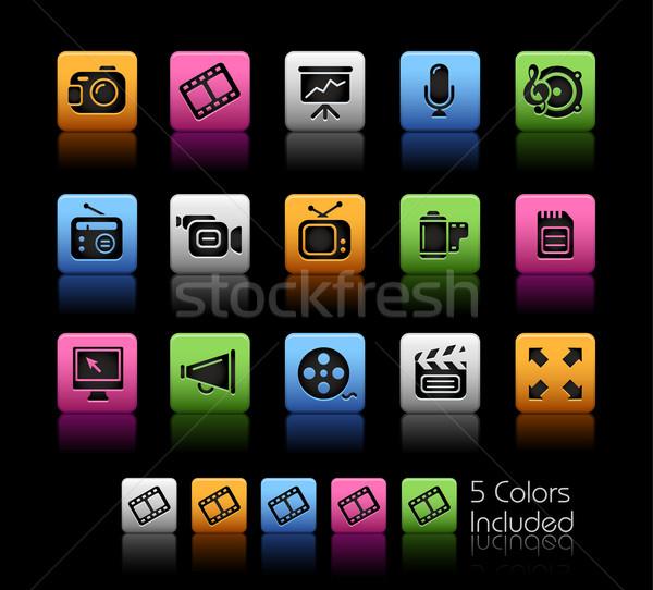 Foto stock: Multimídia · cor · caixa · eps · arquivo · ícone