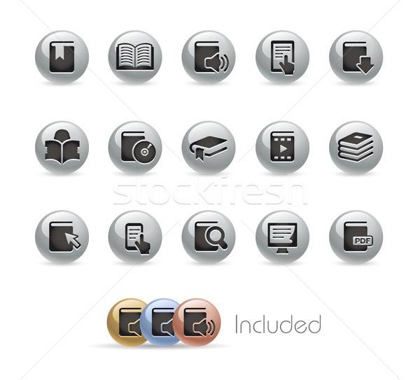 Book Icons -- Metal Round Series Stock photo © Palsur