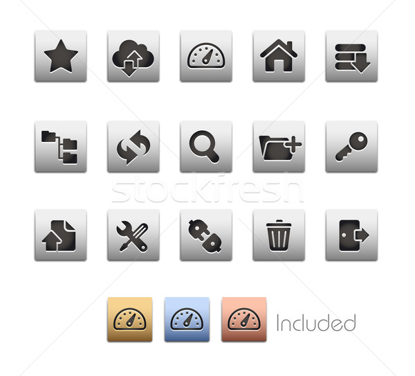 Ftp hosting iconen ingesteld kleur icon Stockfoto © Palsur