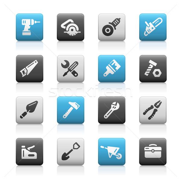 Tools iconen mat vector web mobiele Stockfoto © Palsur