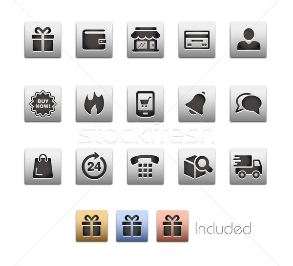E-Shopping Icon set - Metalbox Series Stock photo © Palsur