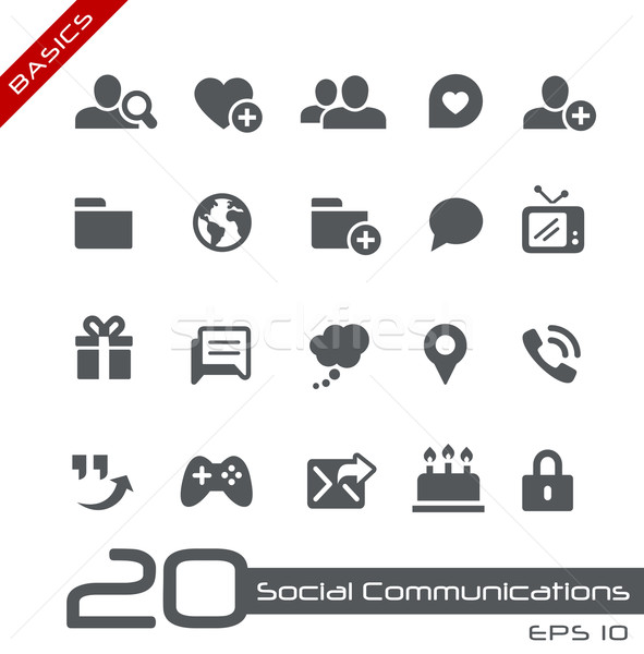Zdjęcia stock: Społecznej · komunikacja · wektora · ikona · internetowych