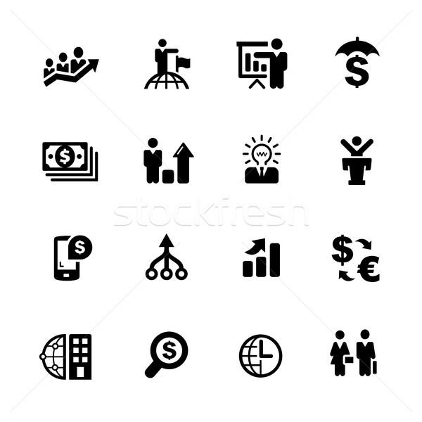 Finansal iş simgeler siyah vektör simgeleri dijital Stok fotoğraf © Palsur