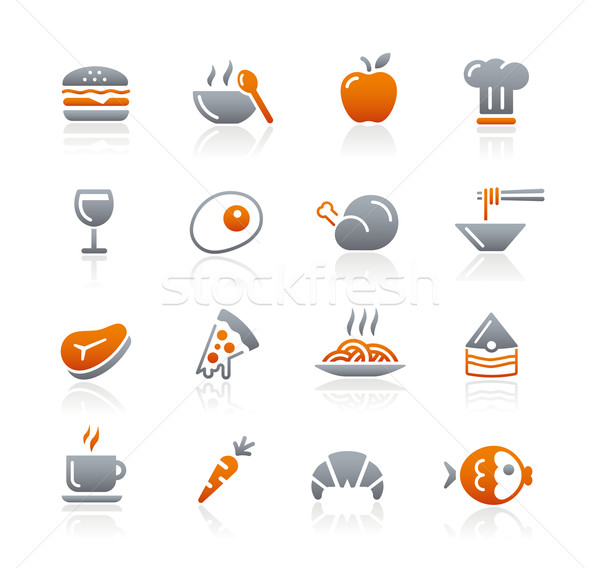 Food Icons - 1 // Graphite Series Stock photo © Palsur