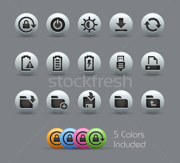 Energy and Storage Icons -- Pearly Series Stock photo © Palsur
