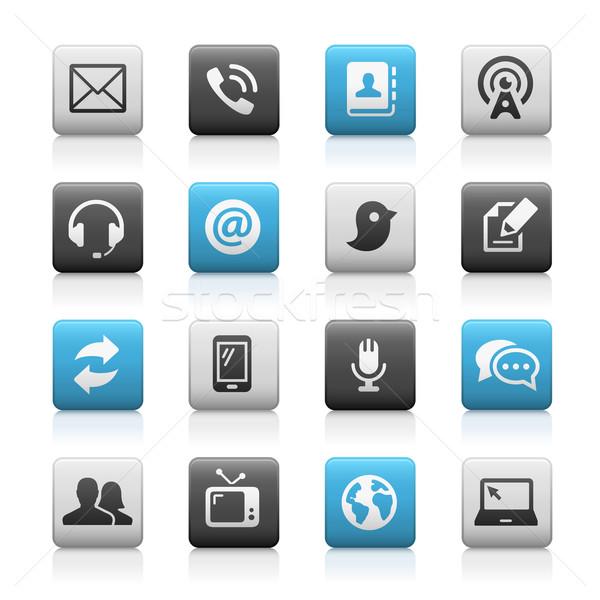 Telecommunicatie iconen mat vector web mobiele Stockfoto © Palsur