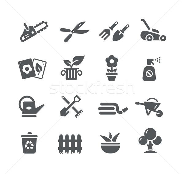 Jardinagem ícones utilidade vetor digital imprimir Foto stock © Palsur