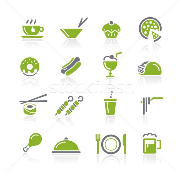 étel ikonok zöld vektor ikon gyűjtemény háló Stock fotó © Palsur