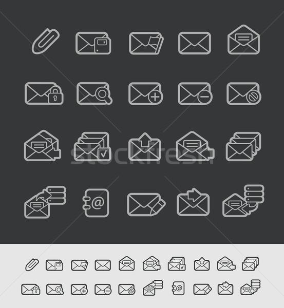 Stock photo: E-mail Icons -- Black Line Series