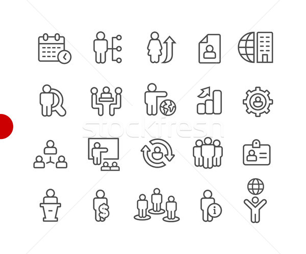 Human Resources Icons // Red Point Series Stock photo © Palsur