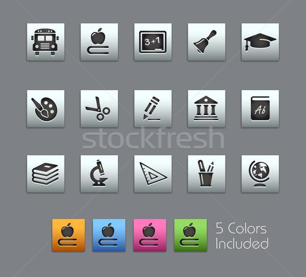 Iskola oktatás ikonok vektor akta szín Stock fotó © Palsur