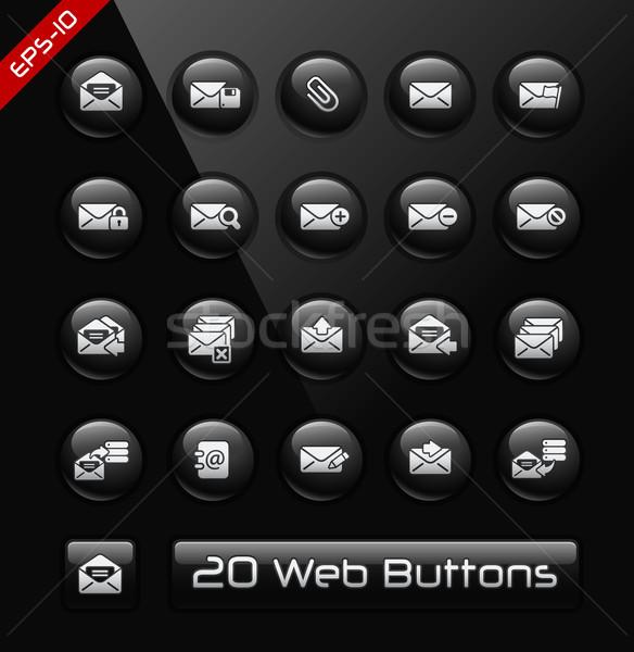 E-mail simgeler siyah etiket vektör düğmeler Stok fotoğraf © Palsur