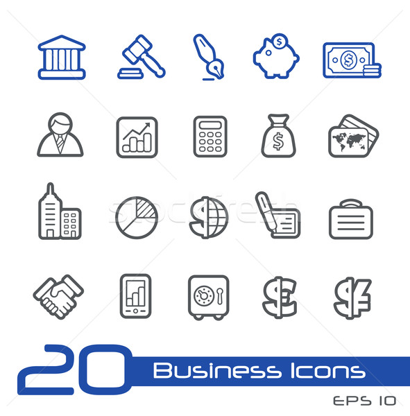 Foto stock: Negocios · financiar · iconos · línea · vector · sitio · web