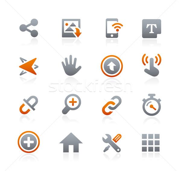 Zdjęcia stock: Internetowych · komórkowych · ikona · 10 · grafit · wektora