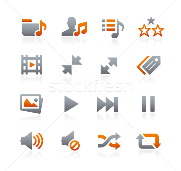 Web mobiele iconen grafiet vector digitale Stockfoto © Palsur