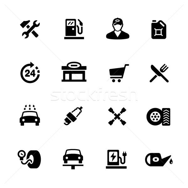 Foto stock: Posto · de · gasolina · ícones · preto · vetor · digital · imprimir