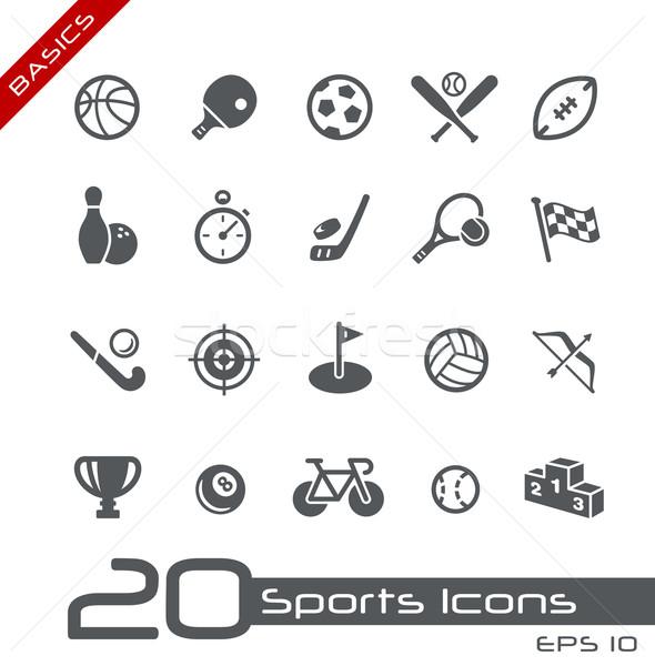 Sportok ikonok alapok vektor ikon szett háló Stock fotó © Palsur
