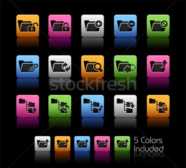 Klasör simgeler renk kutu eps dosya Stok fotoğraf © Palsur